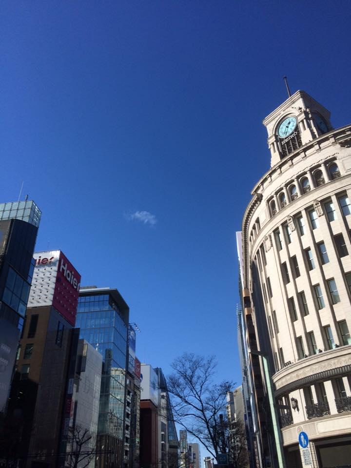晴天の東京銀座にて