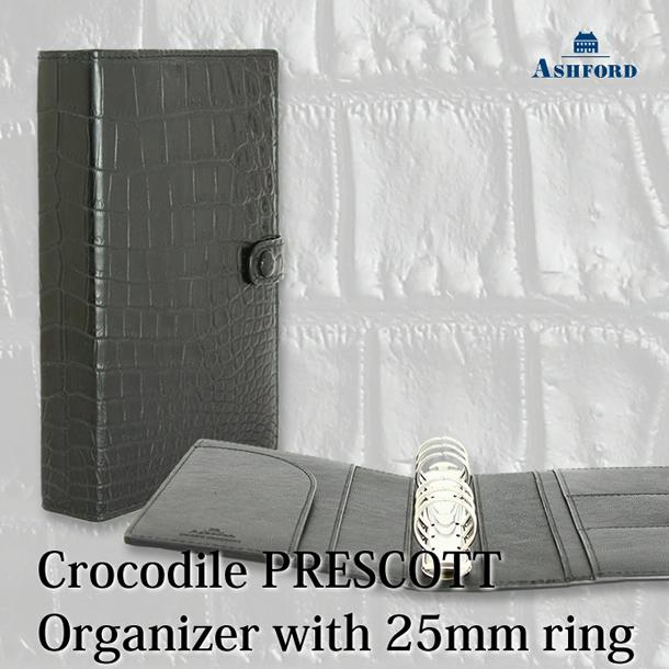 希少なシャムワニの一枚革使用。Ashford システム手帳 クロコダイルプレスコット