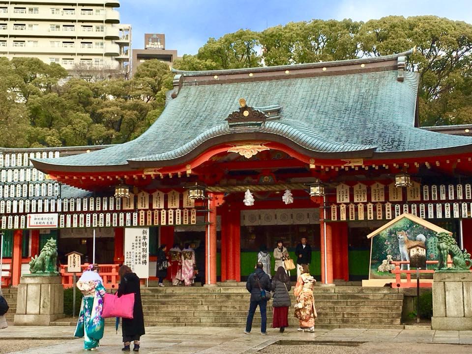 1月8日 朝の生田神社にて