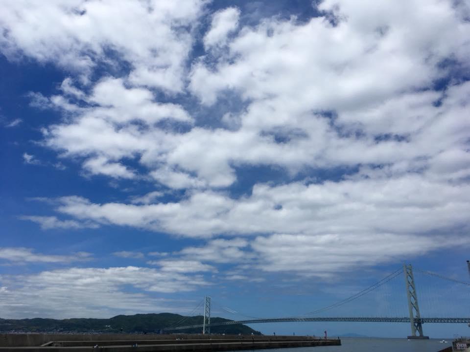 快晴の神戸舞子海岸にて