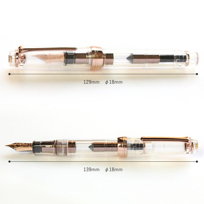 NAGASAWAオリジナル万年筆 ギアスケ ピンクゴールド プロフェッショナルギアモデル スケルトン