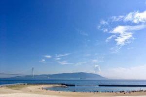 大蔵海岸から淡路島を望む