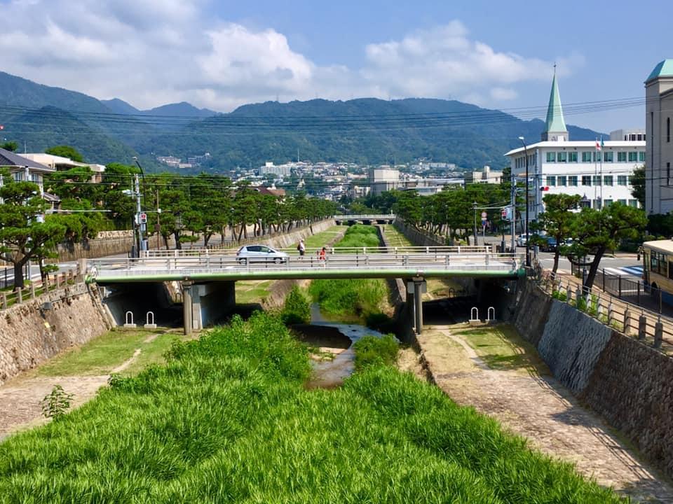 真夏の芦屋川