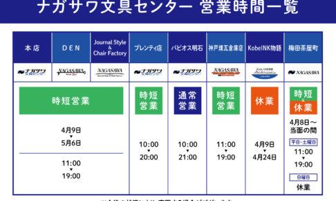 【ナガサワ文具センター 各店 営業時間情報】
